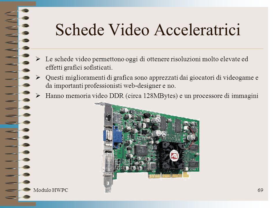 Modulo HWPC69 Schede Video Acceleratrici Le schede video permettono oggi di ottenere risoluzioni molto elevate ed effetti grafici sofisticati. Questi