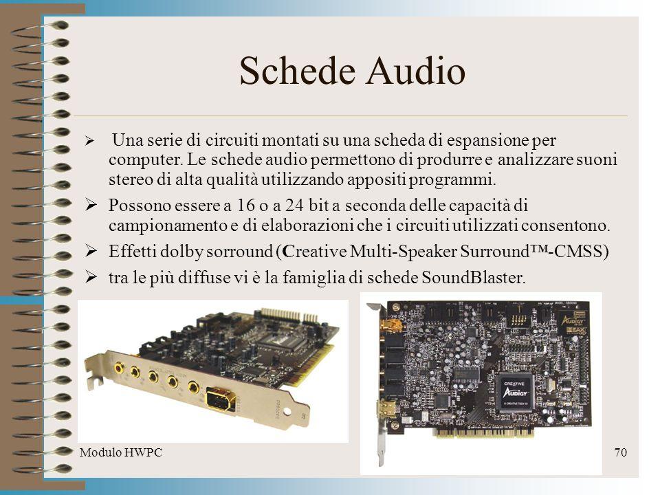 Modulo HWPC70 Schede Audio Una serie di circuiti montati su una scheda di espansione per computer. Le schede audio permettono di produrre e analizzare