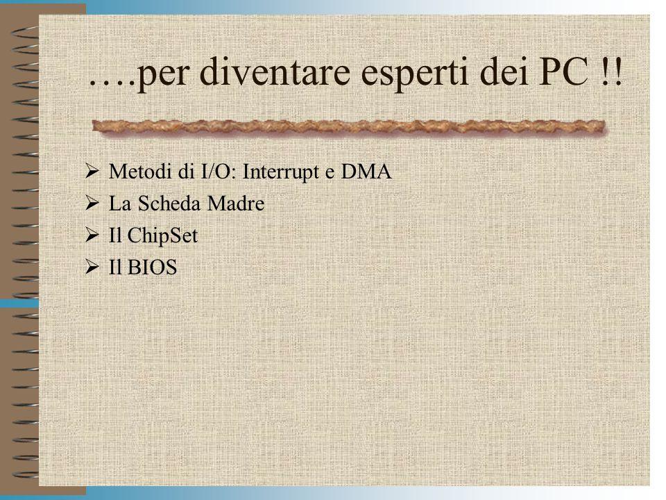 Modulo HWPC74 ….per diventare esperti dei PC !! Metodi di I/O: Interrupt e DMA La Scheda Madre Il ChipSet Il BIOS