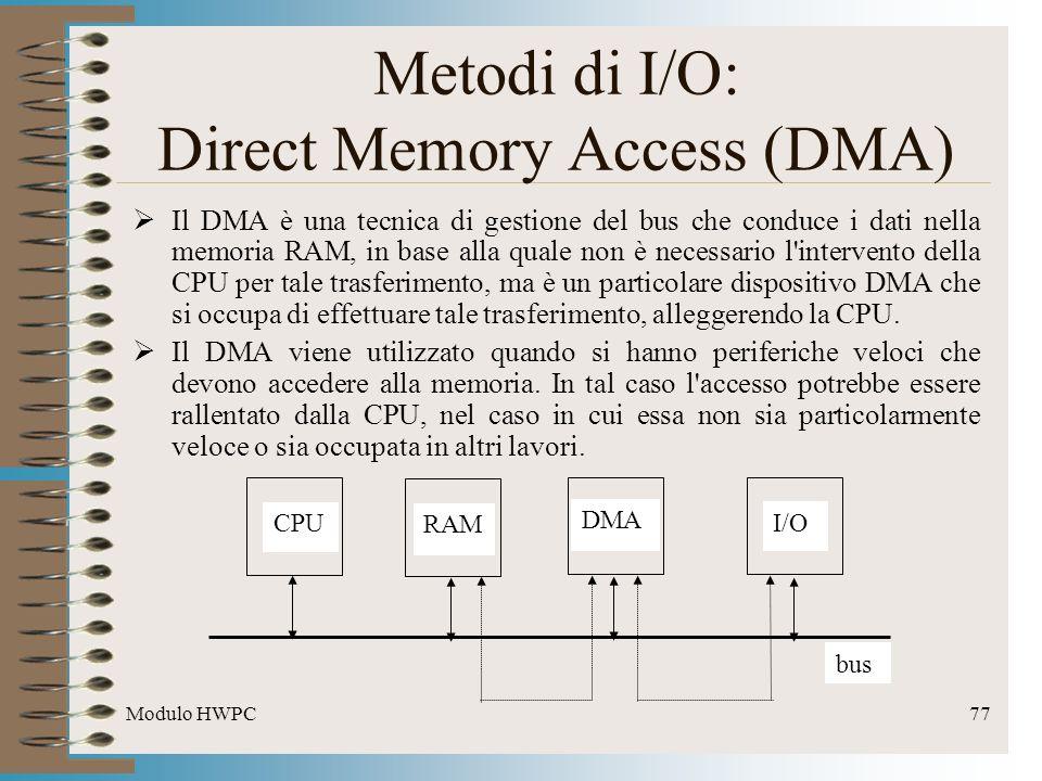 Modulo HWPC77 Metodi di I/O: Direct Memory Access (DMA) Il DMA è una tecnica di gestione del bus che conduce i dati nella memoria RAM, in base alla qu