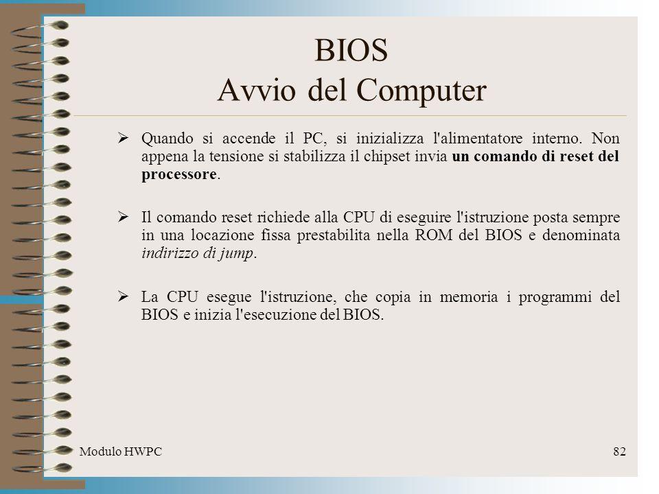 Modulo HWPC82 BIOS Avvio del Computer Quando si accende il PC, si inizializza l'alimentatore interno. Non appena la tensione si stabilizza il chipset