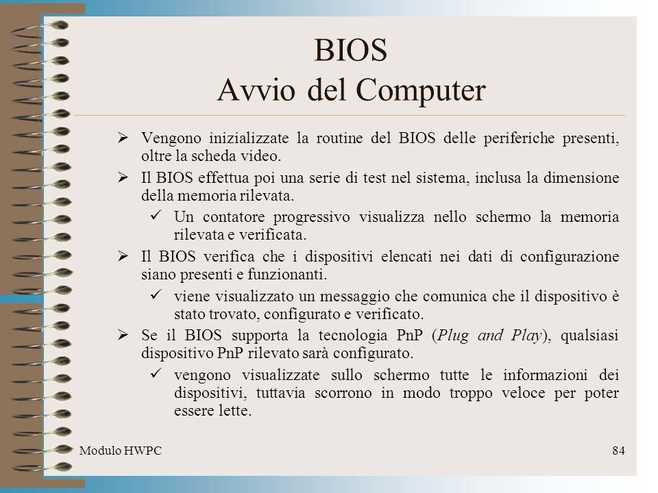 Modulo HWPC84 Vengono inizializzate la routine del BIOS delle periferiche presenti, oltre la scheda video. Il BIOS effettua poi una serie di test nel