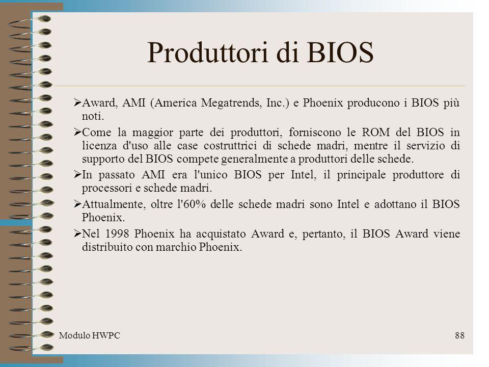 Modulo HWPC88 Produttori di BIOS Award, AMI (America Megatrends, Inc.) e Phoenix producono i BIOS più noti. Come la maggior parte dei produttori, forn