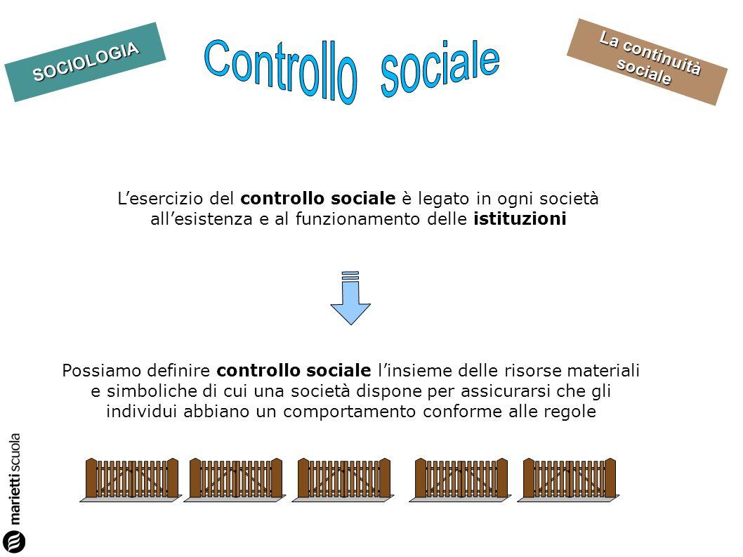 La continuità sociale SOCIOLOGIA Possiamo definire controllo sociale linsieme delle risorse materiali e simboliche di cui una società dispone per assicurarsi che gli individui abbiano un comportamento conforme alle regole Lesercizio del controllo sociale è legato in ogni società allesistenza e al funzionamento delle istituzioni