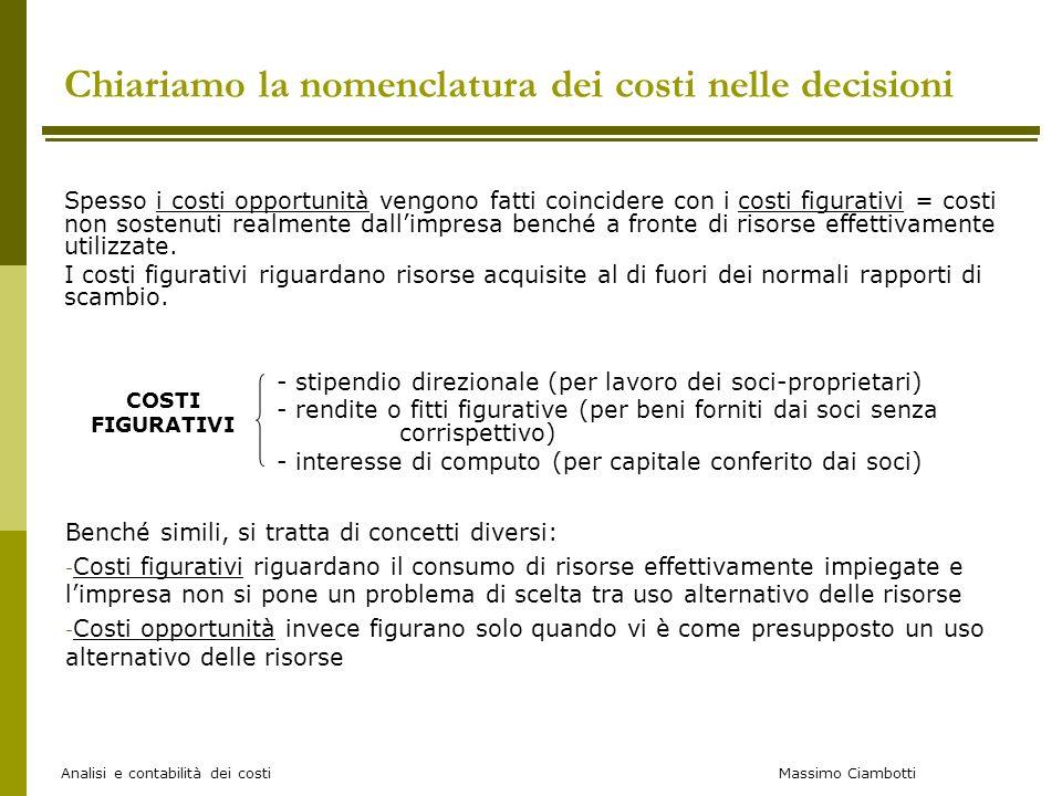Massimo Ciambotti Analisi e contabilità dei costi Spesso i costi opportunità vengono fatti coincidere con i costi figurativi = costi non sostenuti rea