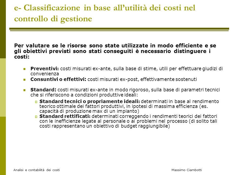 Massimo Ciambotti Analisi e contabilità dei costi e- Classificazione in base allutilità dei costi nel controllo di gestione Per valutare se le risorse