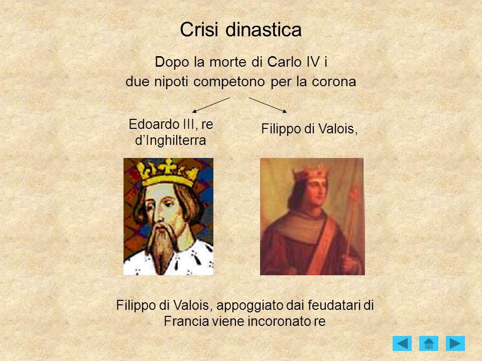 Crisi dinastica Dopo la morte di Carlo IV i due nipoti competono per la corona Edoardo III, re dInghilterra Filippo di Valois, Filippo di Valois, appo