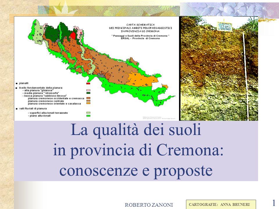 ROBERTO ZANONI 1 La qualità dei suoli in provincia di Cremona: conoscenze e proposte CARTOGRAFIE: ANNA BRUNERI