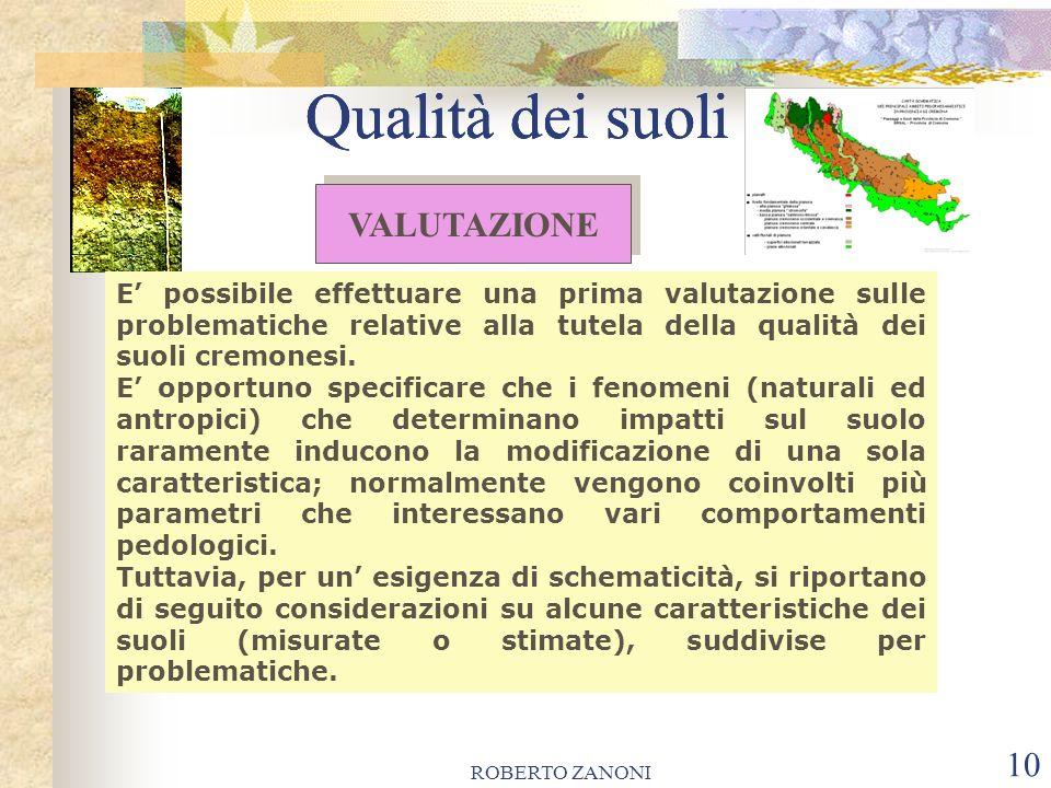 ROBERTO ZANONI 10 Qualità dei suoli E possibile effettuare una prima valutazione sulle problematiche relative alla tutela della qualità dei suoli crem