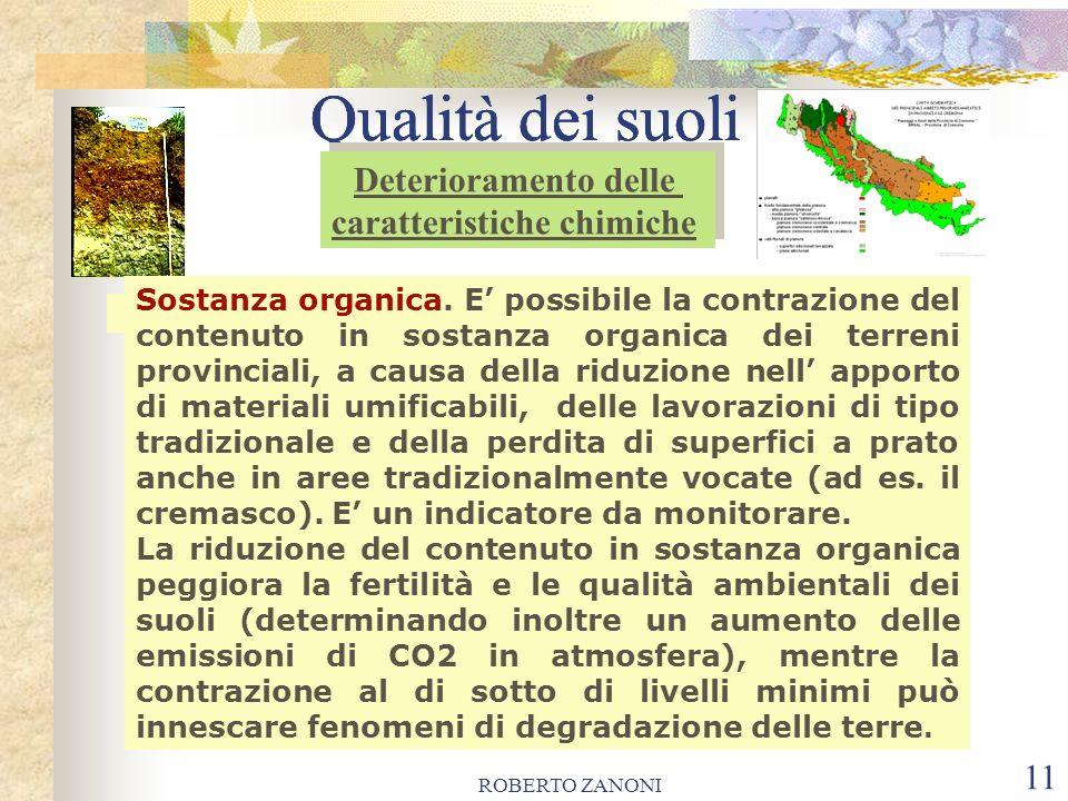 ROBERTO ZANONI 11 Qualità dei suoli Sostanza organica. E possibile la contrazione del contenuto in sostanza organica dei terreni provinciali, a causa