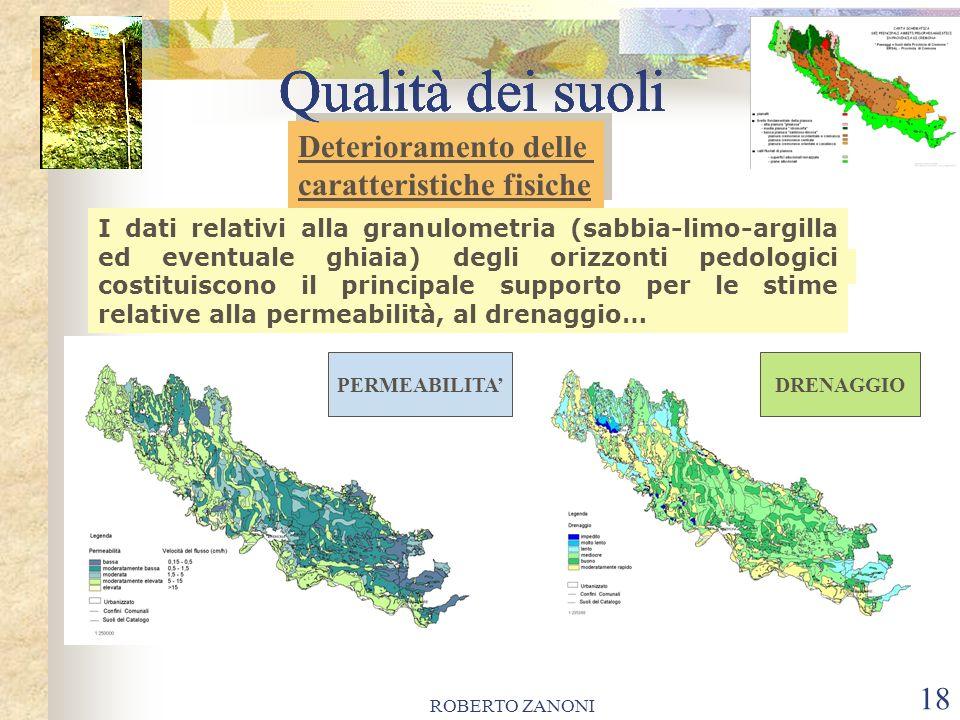 ROBERTO ZANONI 18 Qualità dei suoli I dati relativi alla granulometria (sabbia-limo-argilla ed eventuale ghiaia) degli orizzonti pedologici costituisc