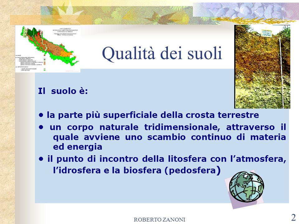ROBERTO ZANONI 2 Qualità dei suoli Il suolo è: la parte più superficiale della crosta terrestre un corpo naturale tridimensionale, attraverso il quale