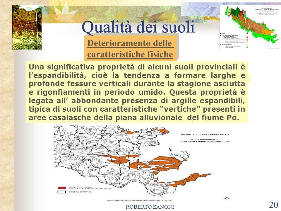 ROBERTO ZANONI 20 Qualità dei suoli Una significativa proprietà di alcuni suoli provinciali è lespandibilità, cioè la tendenza a formare larghe e prof