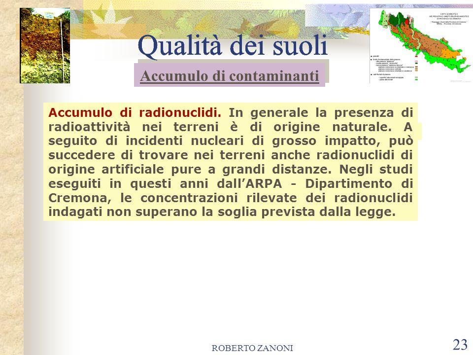 ROBERTO ZANONI 23 Qualità dei suoli Accumulo di radionuclidi. In generale la presenza di radioattività nei terreni è di origine naturale. A seguito di