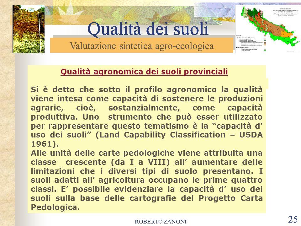 ROBERTO ZANONI 25 Qualità dei suoli Qualità agronomica dei suoli provinciali Si è detto che sotto il profilo agronomico la qualità viene intesa come c