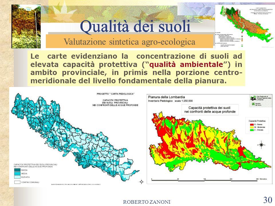 ROBERTO ZANONI 30 Qualità dei suoli Le carte evidenziano la concentrazione di suoli ad elevata capacità protettiva (qualità ambientale) in ambito prov