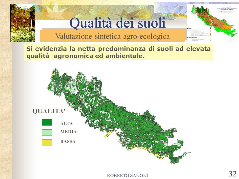 ROBERTO ZANONI 32 Qualità dei suoli Si evidenzia la netta predominanza di suoli ad elevata qualità agronomica ed ambientale. Valutazione sintetica agr