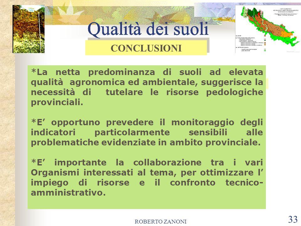 ROBERTO ZANONI 33 Qualità dei suoli *La netta predominanza di suoli ad elevata qualità agronomica ed ambientale, suggerisce la necessità di tutelare l