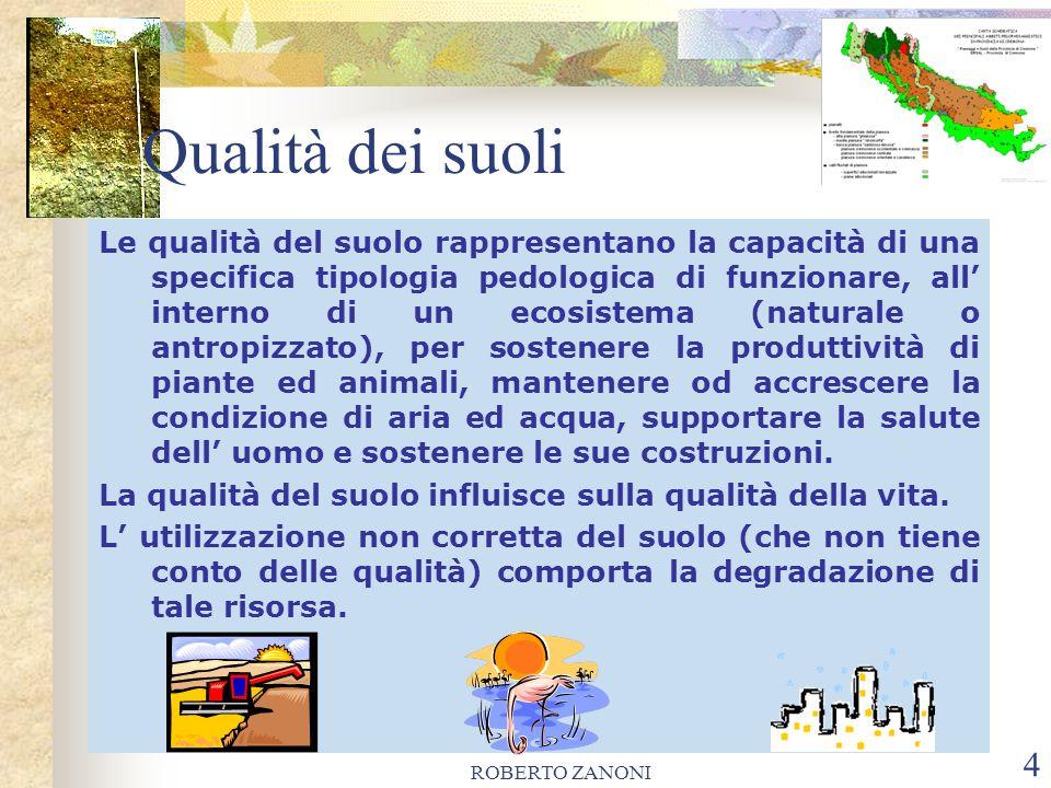 ROBERTO ZANONI 4 Le qualità del suolo rappresentano la capacità di una specifica tipologia pedologica di funzionare, all interno di un ecosistema (nat