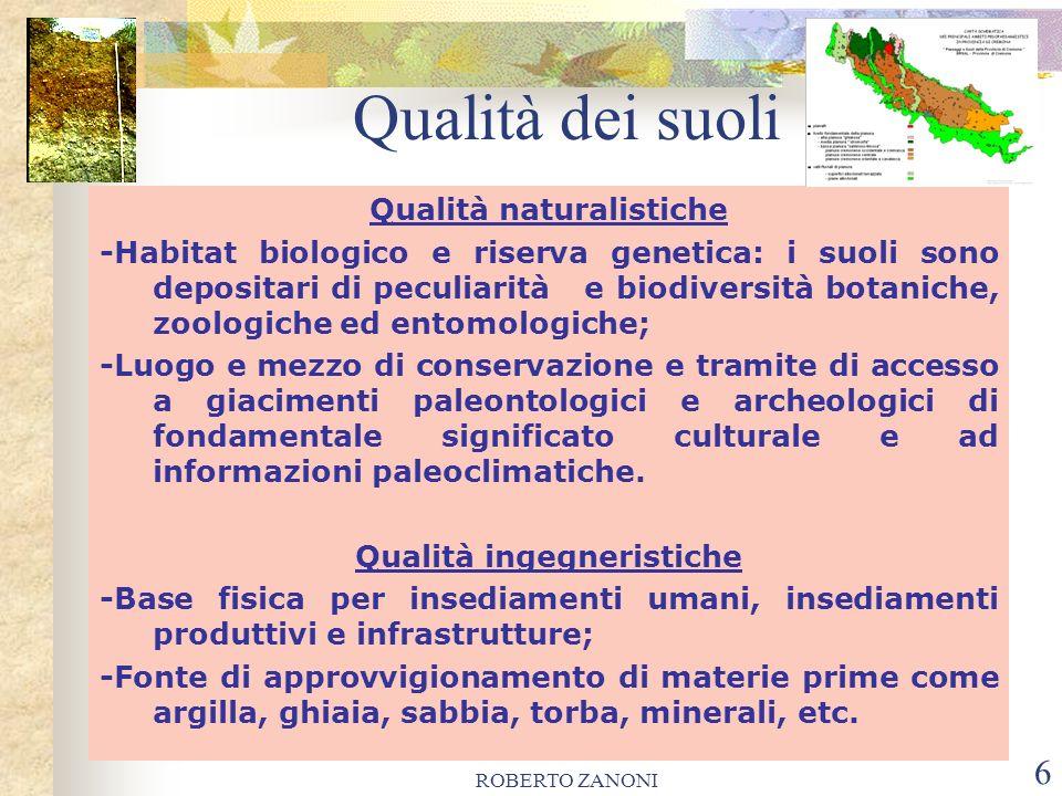 ROBERTO ZANONI 6 Qualità dei suoli Qualità naturalistiche -Habitat biologico e riserva genetica: i suoli sono depositari di peculiarità e biodiversità