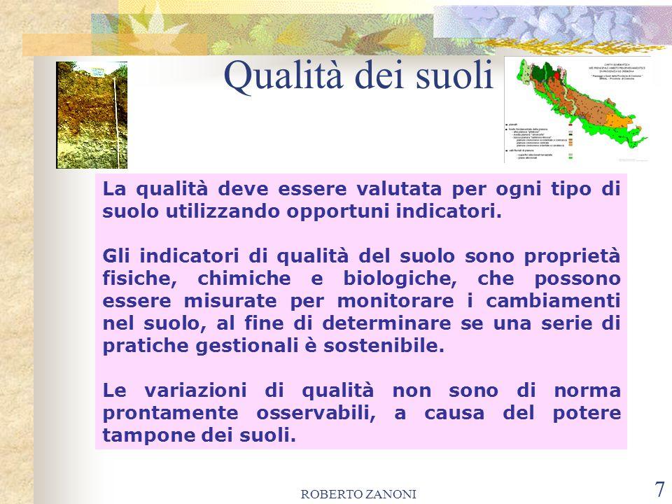 ROBERTO ZANONI 7 Qualità dei suoli La qualità deve essere valutata per ogni tipo di suolo utilizzando opportuni indicatori. Gli indicatori di qualità