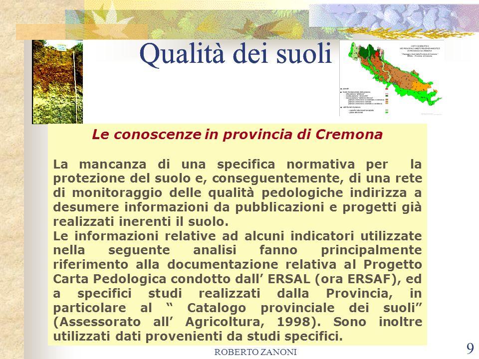 ROBERTO ZANONI 9 Qualità dei suoli Le conoscenze in provincia di Cremona La mancanza di una specifica normativa per la protezione del suolo e, consegu