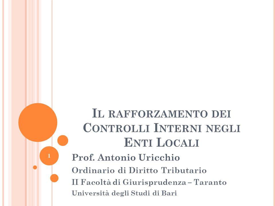 PRINCIPI GENERALI DEL CONTROLLO INTERNO – D.LGS.286/1999 E ART.