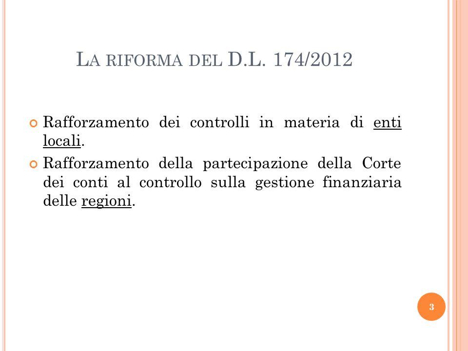 RAFFORZAMENTO DEI CONTROLLI IN MATERIA DI ENTI LOCALI – TIPOLOGIA DEI CONTROLLI INTERNI – D.L.