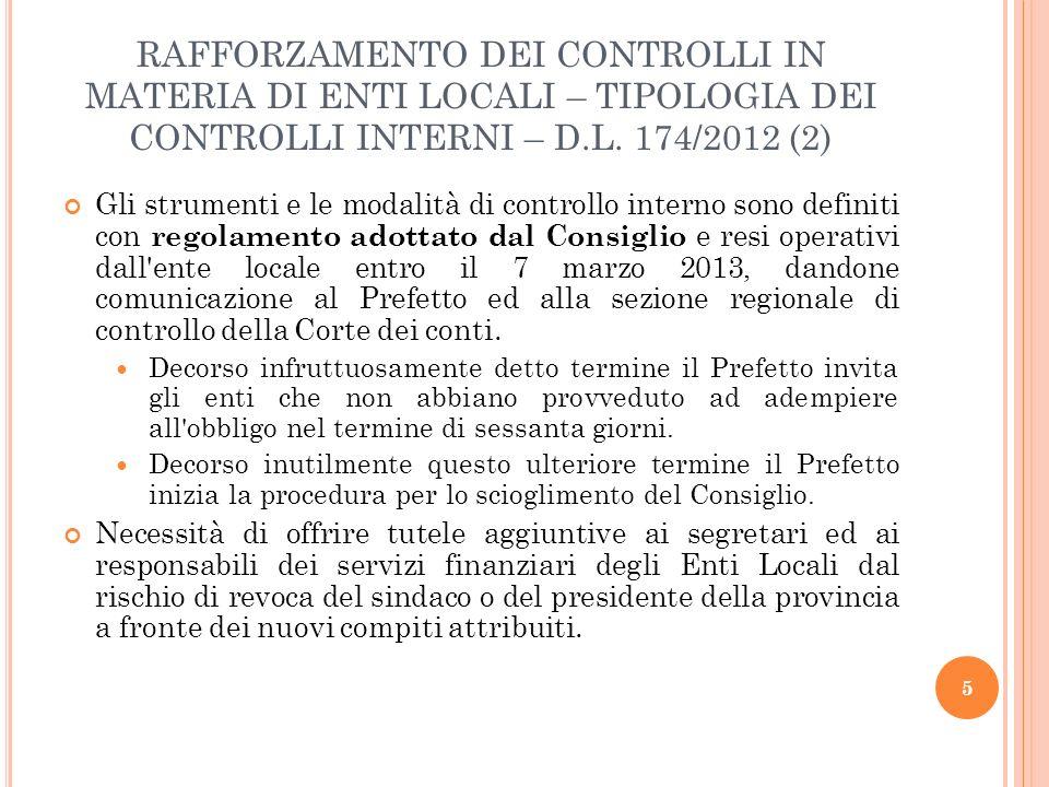 CONTROLLI IN MATERIA DI ENTI LOCALI – CONTROLLO DI REGOLARITÀ AMM.