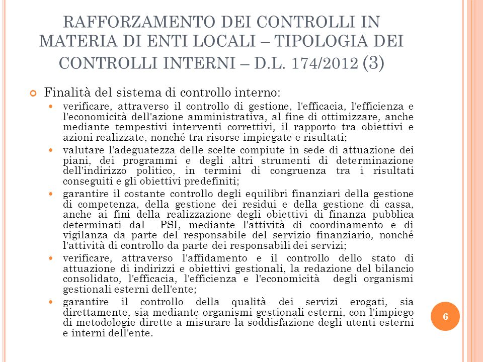 RAFFORZAMENTO DEI CONTROLLI IN MATERIA DI ENTI LOCALI - PARERI DEI RESPONSABILI DEI SERVIZI – D.L.