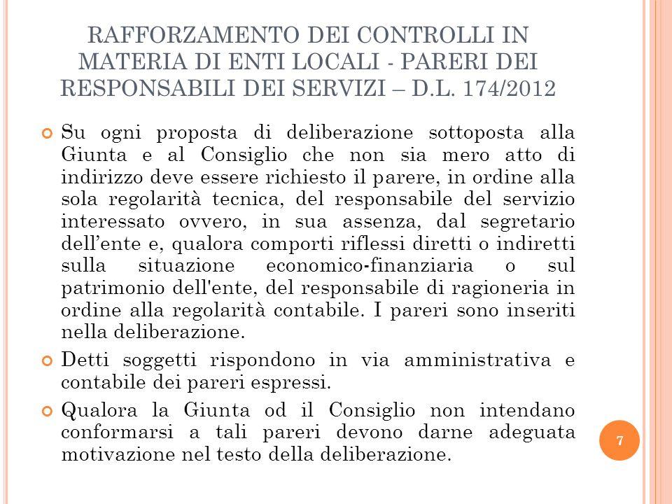 RAFFORZAMENTO DEI CONTROLLI IN MATERIA DI ENTI LOCALI – CONTROLLO STRATEGICO – D.L.