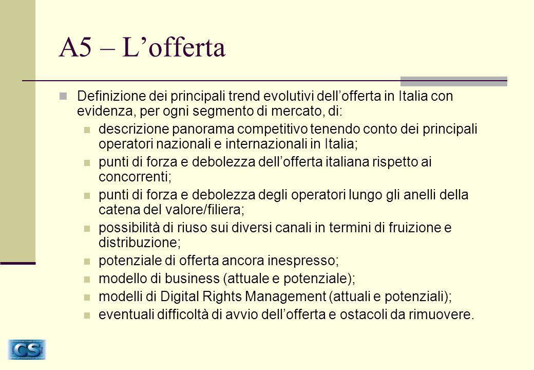 A5 – Lofferta Definizione dei principali trend evolutivi dellofferta in Italia con evidenza, per ogni segmento di mercato, di: descrizione panorama competitivo tenendo conto dei principali operatori nazionali e internazionali in Italia; punti di forza e debolezza dellofferta italiana rispetto ai concorrenti; punti di forza e debolezza degli operatori lungo gli anelli della catena del valore/filiera; possibilità di riuso sui diversi canali in termini di fruizione e distribuzione; potenziale di offerta ancora inespresso; modello di business (attuale e potenziale); modelli di Digital Rights Management (attuali e potenziali); eventuali difficoltà di avvio dellofferta e ostacoli da rimuovere.