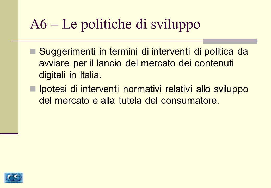 A6 – Le politiche di sviluppo Suggerimenti in termini di interventi di politica da avviare per il lancio del mercato dei contenuti digitali in Italia.