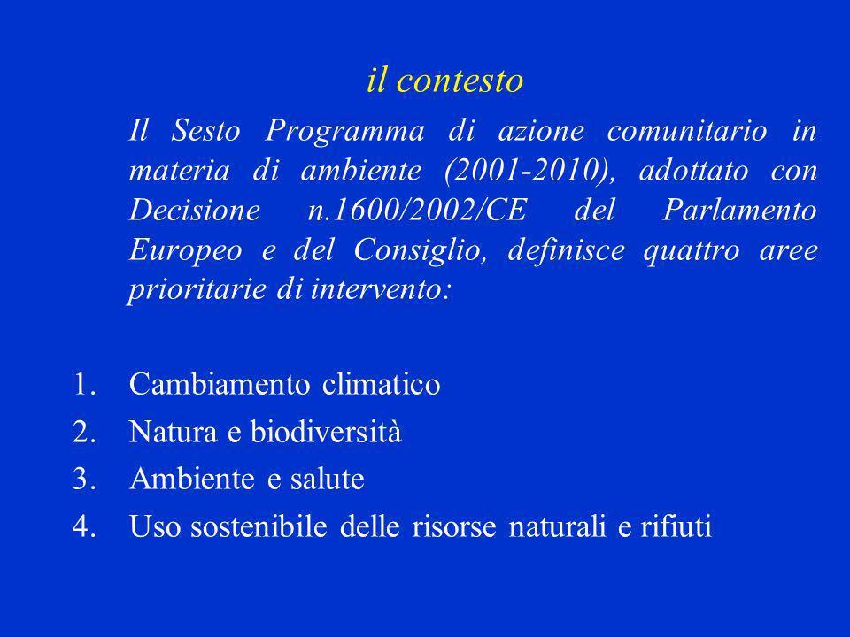 il contesto Il Sesto Programma di azione comunitario in materia di ambiente (2001-2010), adottato con Decisione n.1600/2002/CE del Parlamento Europeo e del Consiglio, definisce quattro aree prioritarie di intervento: 1.Cambiamento climatico 2.Natura e biodiversità 3.Ambiente e salute 4.Uso sostenibile delle risorse naturali e rifiuti