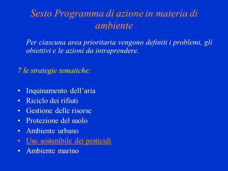 Sesto Programma di azione in materia di ambiente Per ciascuna area prioritaria vengono definiti i problemi, gli obiettivi e le azioni da intraprendere.