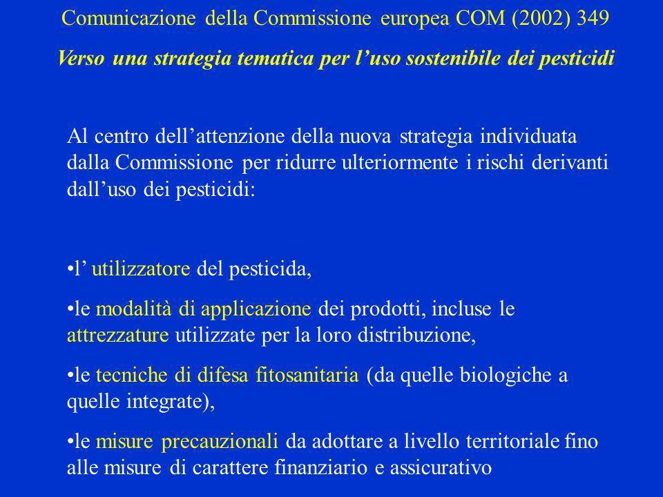 Al centro dellattenzione della nuova strategia individuata dalla Commissione per ridurre ulteriormente i rischi derivanti dalluso dei pesticidi: l utilizzatore del pesticida, le modalità di applicazione dei prodotti, incluse le attrezzature utilizzate per la loro distribuzione, le tecniche di difesa fitosanitaria (da quelle biologiche a quelle integrate), le misure precauzionali da adottare a livello territoriale fino alle misure di carattere finanziario e assicurativo Comunicazione della Commissione europea COM (2002) 349 Verso una strategia tematica per luso sostenibile dei pesticidi