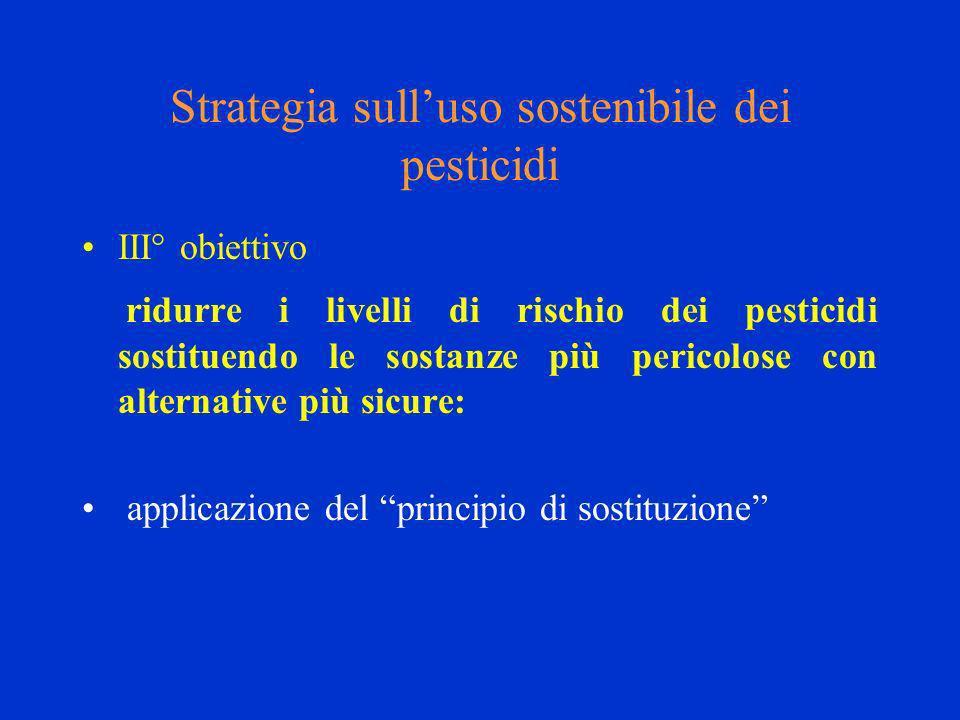 Strategia sulluso sostenibile dei pesticidi III° obiettivo ridurre i livelli di rischio dei pesticidi sostituendo le sostanze più pericolose con alternative più sicure: applicazione del principio di sostituzione