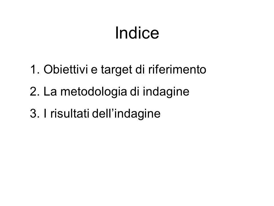 Indice 1.Obiettivi e target di riferimento 2.La metodologia di indagine 3.I risultati dellindagine