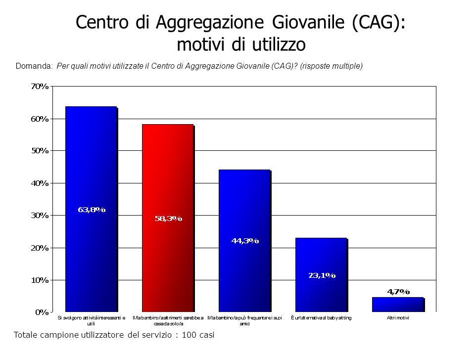 Centro di Aggregazione Giovanile (CAG): motivi di utilizzo Domanda: Per quali motivi utilizzate il Centro di Aggregazione Giovanile (CAG).