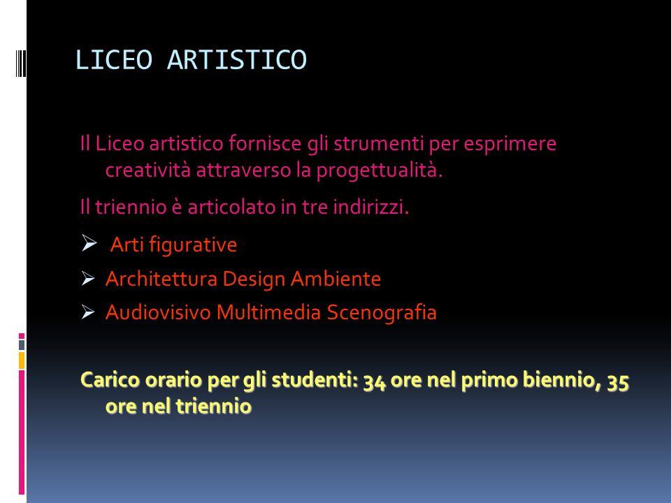 LICEO ARTISTICO Il Liceo artistico fornisce gli strumenti per esprimere creatività attraverso la progettualità. Il triennio è articolato in tre indiri