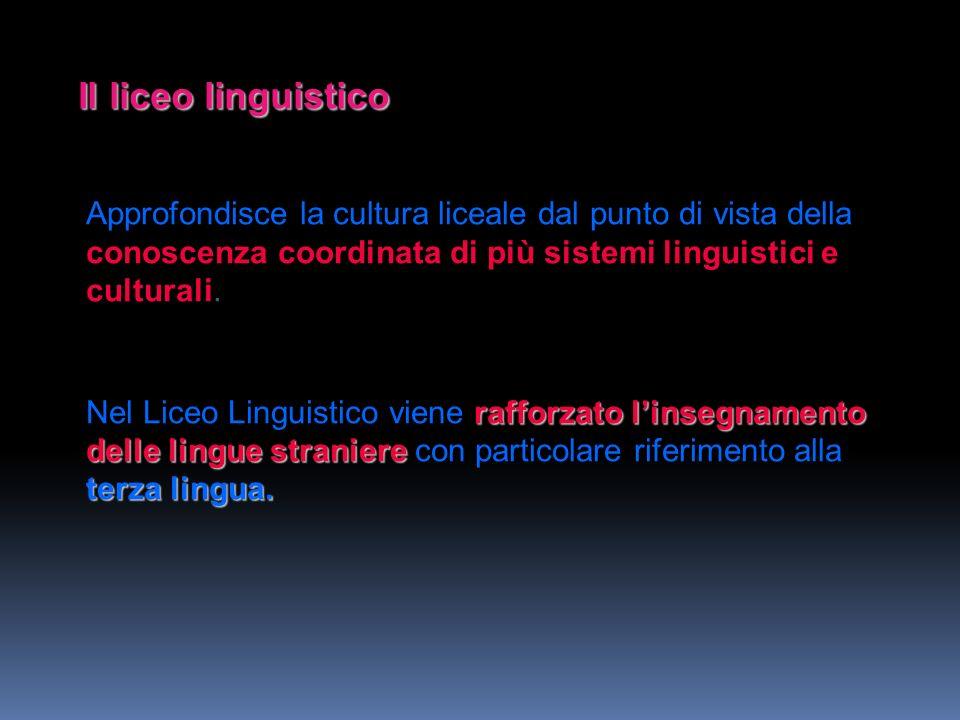 Il liceo linguistico Approfondisce la cultura liceale dal punto di vista della conoscenza coordinata di più sistemi linguistici e culturali. rafforzat