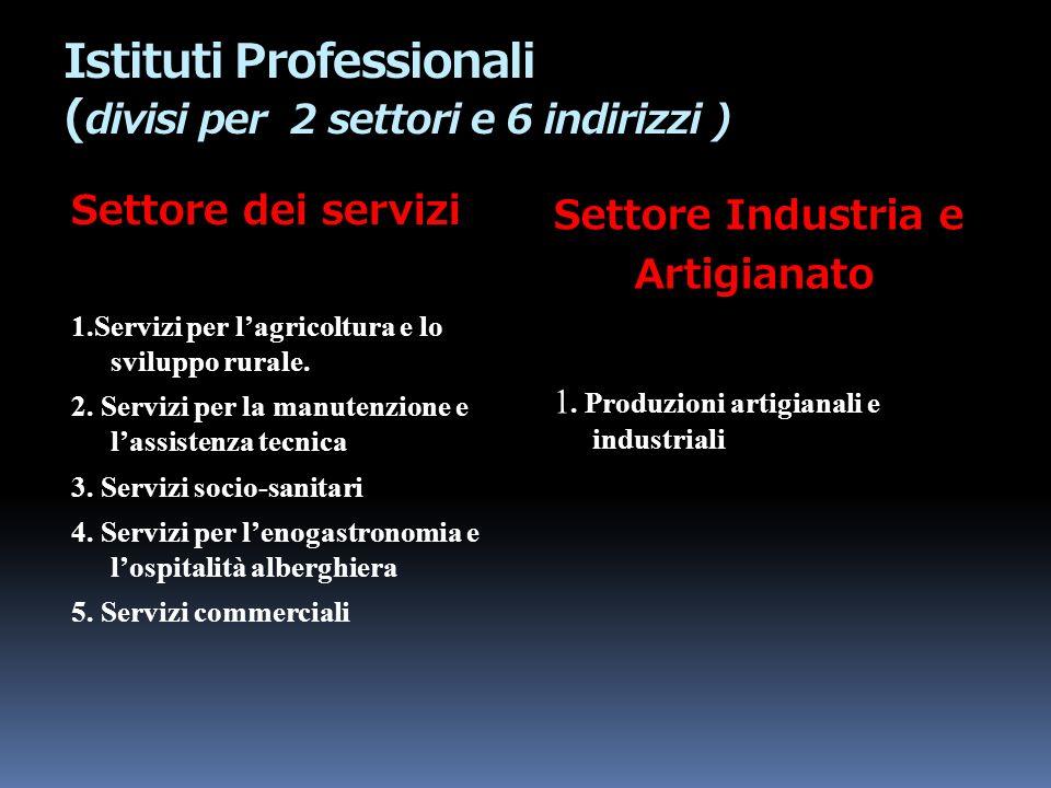 Istituti Professionali ( divisi per 2 settori e 6 indirizzi ) Settore dei servizi 1.Servizi per lagricoltura e lo sviluppo rurale. 2. Servizi per la m