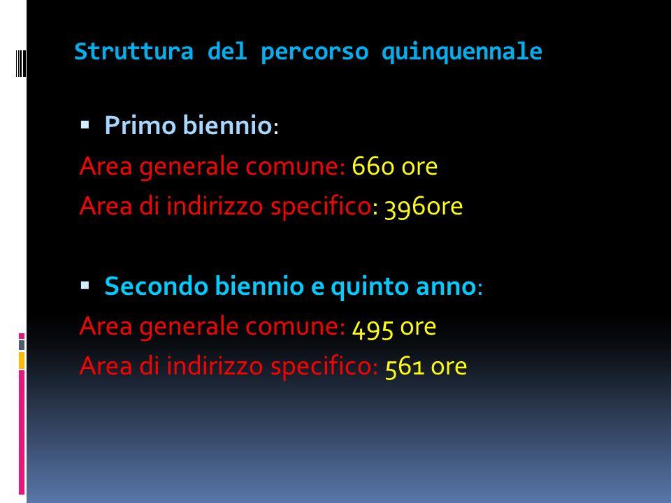 Struttura del percorso quinquennale Primo biennio Primo biennio: Area generale comune: 660 ore Area di indirizzo specifico: 396ore Secondo biennio e q