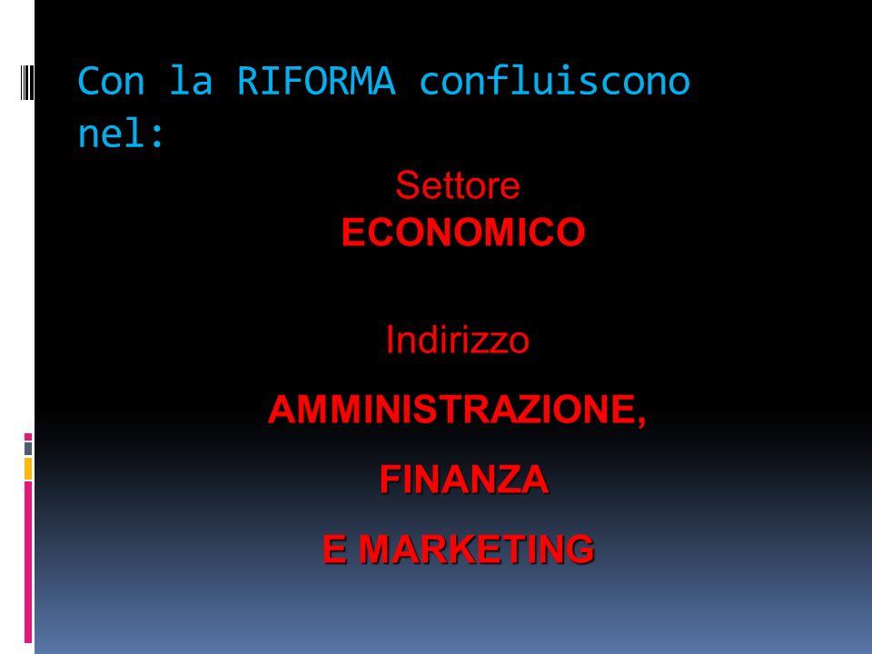 Con la RIFORMA confluiscono nel: Settore ECONOMICO IndirizzoAMMINISTRAZIONE, FINANZA FINANZA E MARKETING