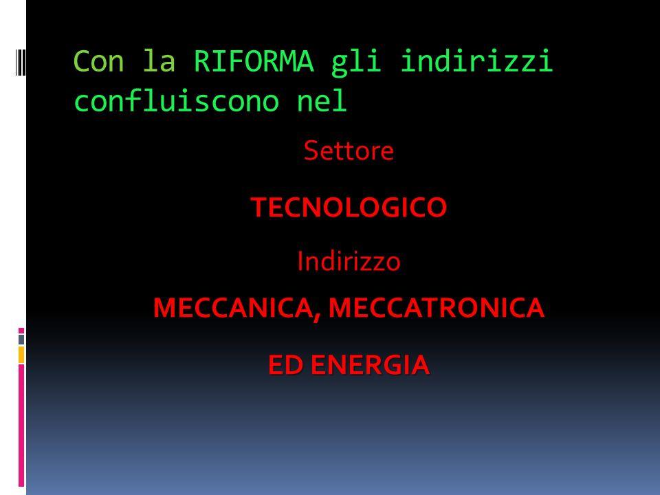 Con la RIFORMA gli indirizzi confluiscono nel SettoreTECNOLOGICO Indirizzo MECCANICA, MECCATRONICA ED ENERGIA