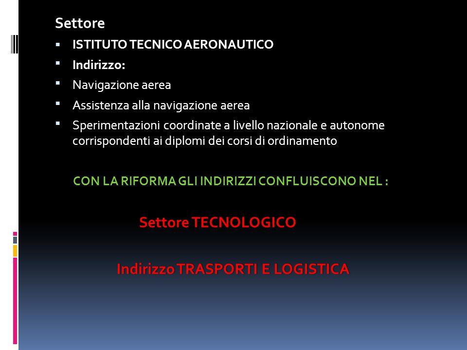 Settore ISTITUTO TECNICO AERONAUTICO ISTITUTO TECNICO AERONAUTICO : Indirizzo: Navigazione aerea Assistenza alla navigazione aerea Sperimentazioni coo