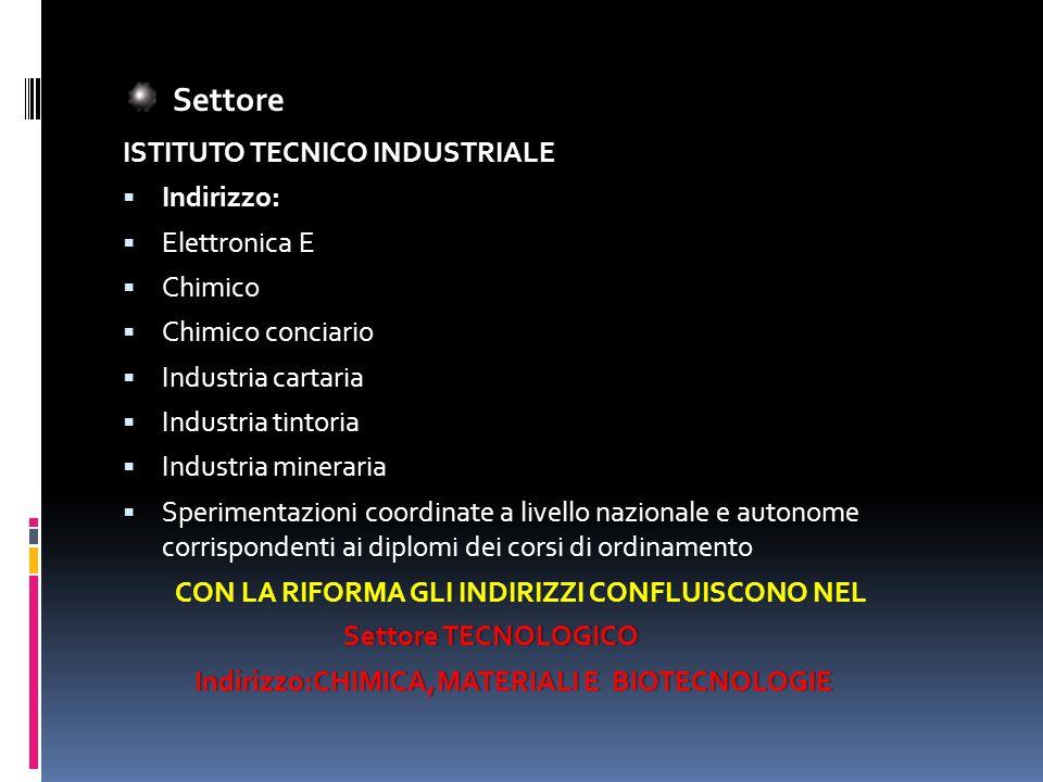 Settore Settore ISTITUTO TECNICO INDUSTRIALE : Indirizzo: Elettronica E Chimico Chimico conciario Industria cartaria Industria tintoria Industria mine