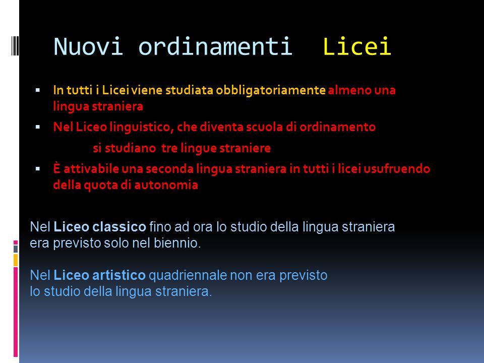 Nuovi ordinamenti Licei In tutti i Licei viene studiata obbligatoriamente In tutti i Licei viene studiata obbligatoriamente almeno una lingua stranier