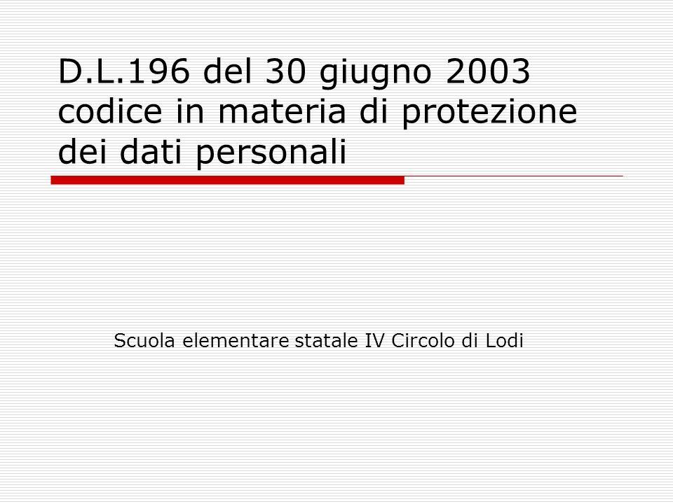 D.L.196 del 30 giugno 2003 codice in materia di protezione dei dati personali Scuola elementare statale IV Circolo di Lodi