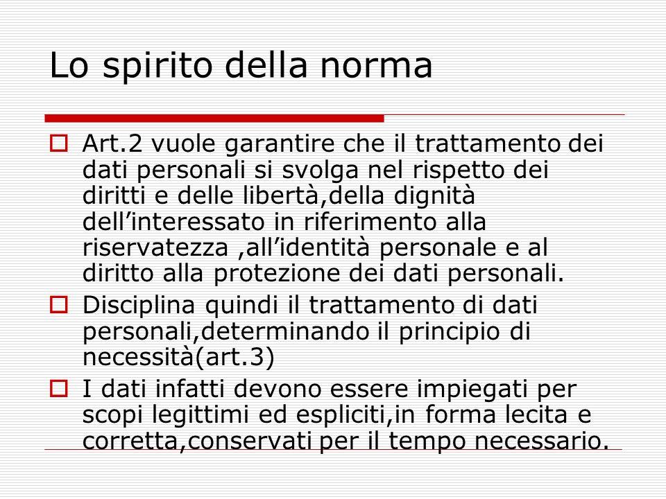 Lo spirito della norma Art.2 vuole garantire che il trattamento dei dati personali si svolga nel rispetto dei diritti e delle libertà,della dignità de